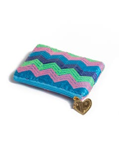 Luvley Blue Sequin Coin Purse