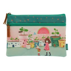 Kori Kumi Melon Showers Flat Two Zip Pencil Case