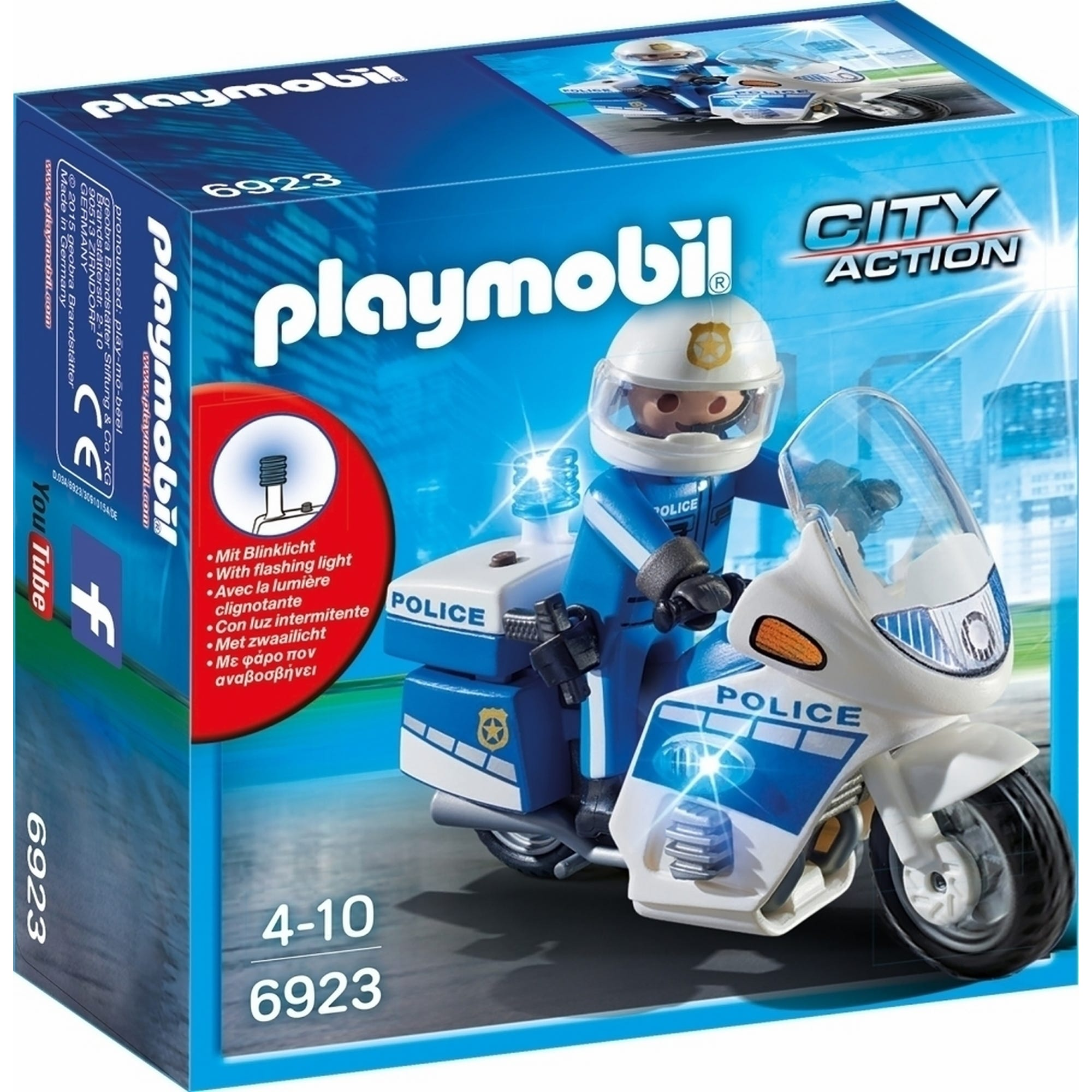 Playmobil City Action Police Bike With LED Light 6923