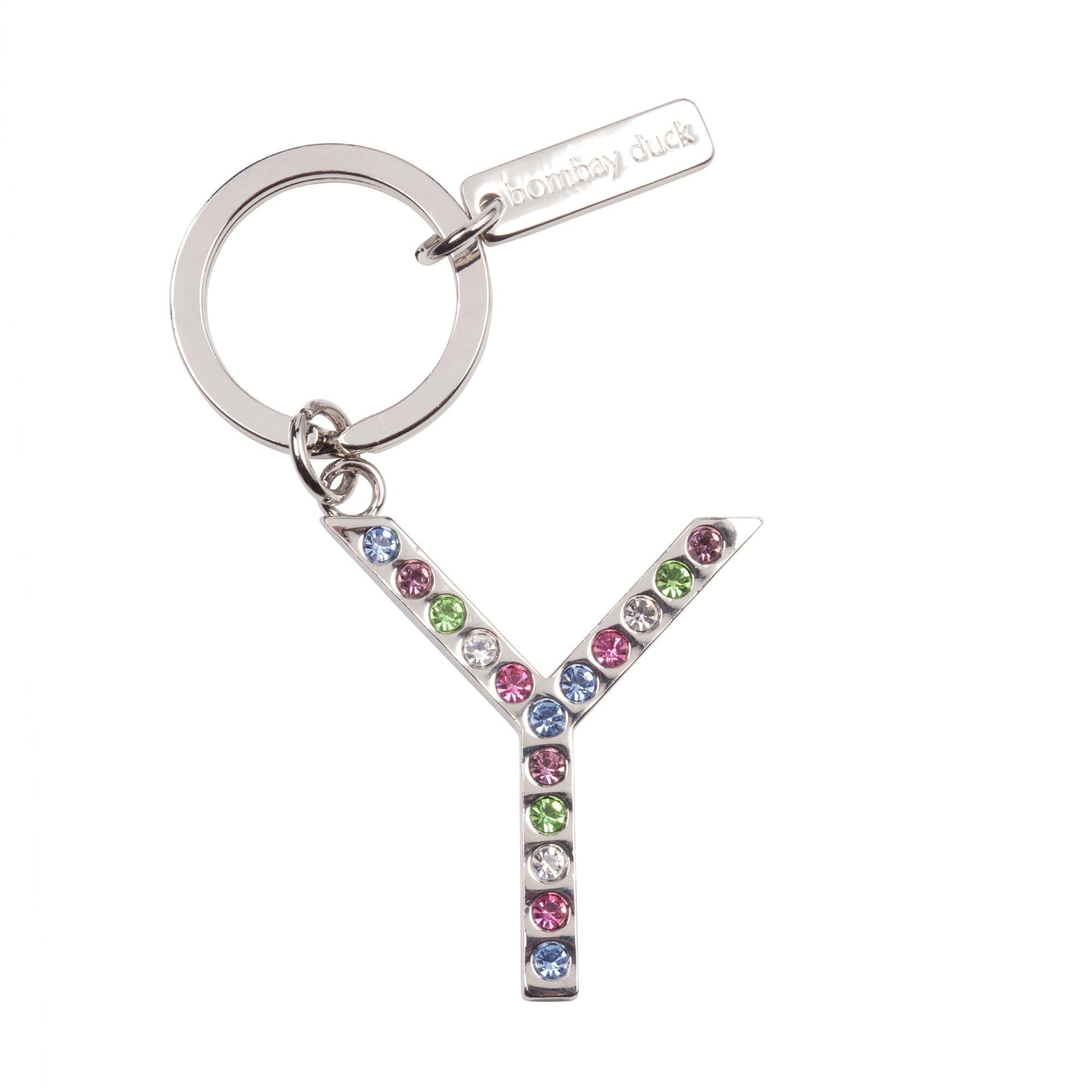 Multicoloured Diamante Keyring Letter Y