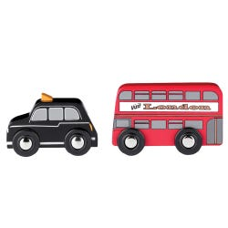 Tidlo Red Bus and Black Cab Set
