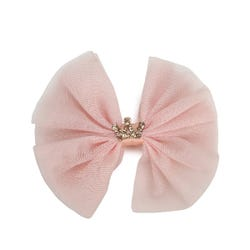 Luvley Peach Tulle Crown Bow