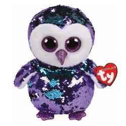 TY Moonlight Owl Sequin Flippable Boo Medium