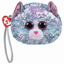 TY Blue Cat Sequin Wristlet Purse