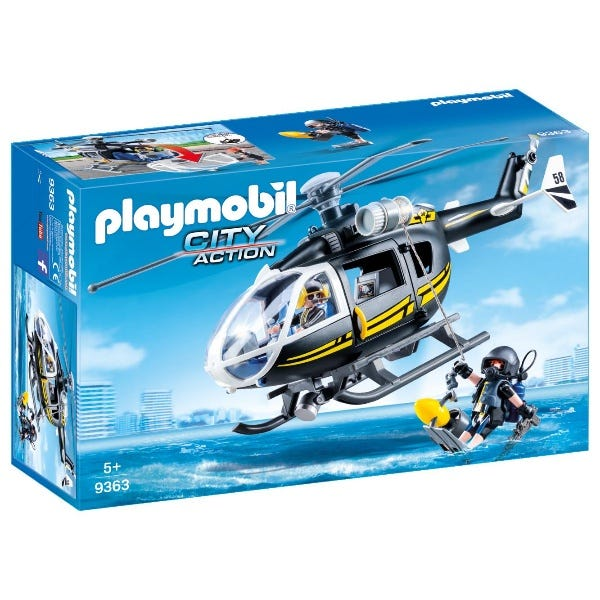 Playmobil Swat Helicopter With Working Winch