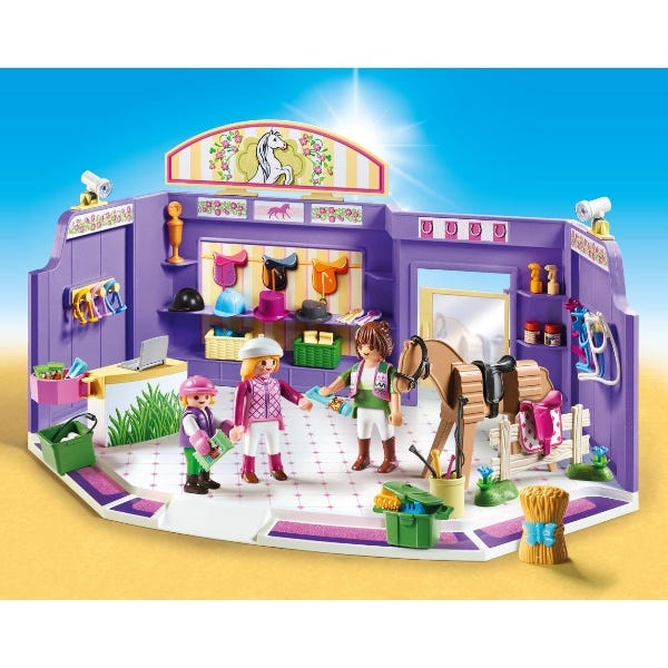 Playmobil 9401 City Life Horse Tack Shop With Wooden Horse