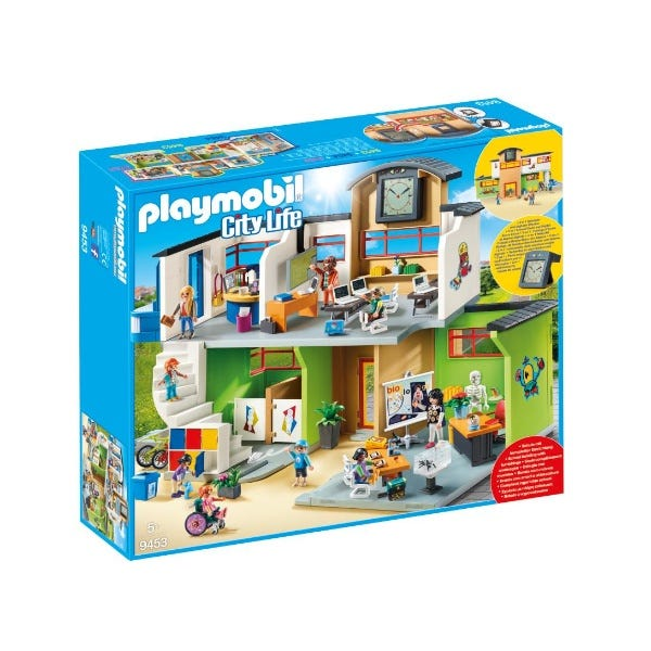 Playmobil Furnished School Building With Digital Clock