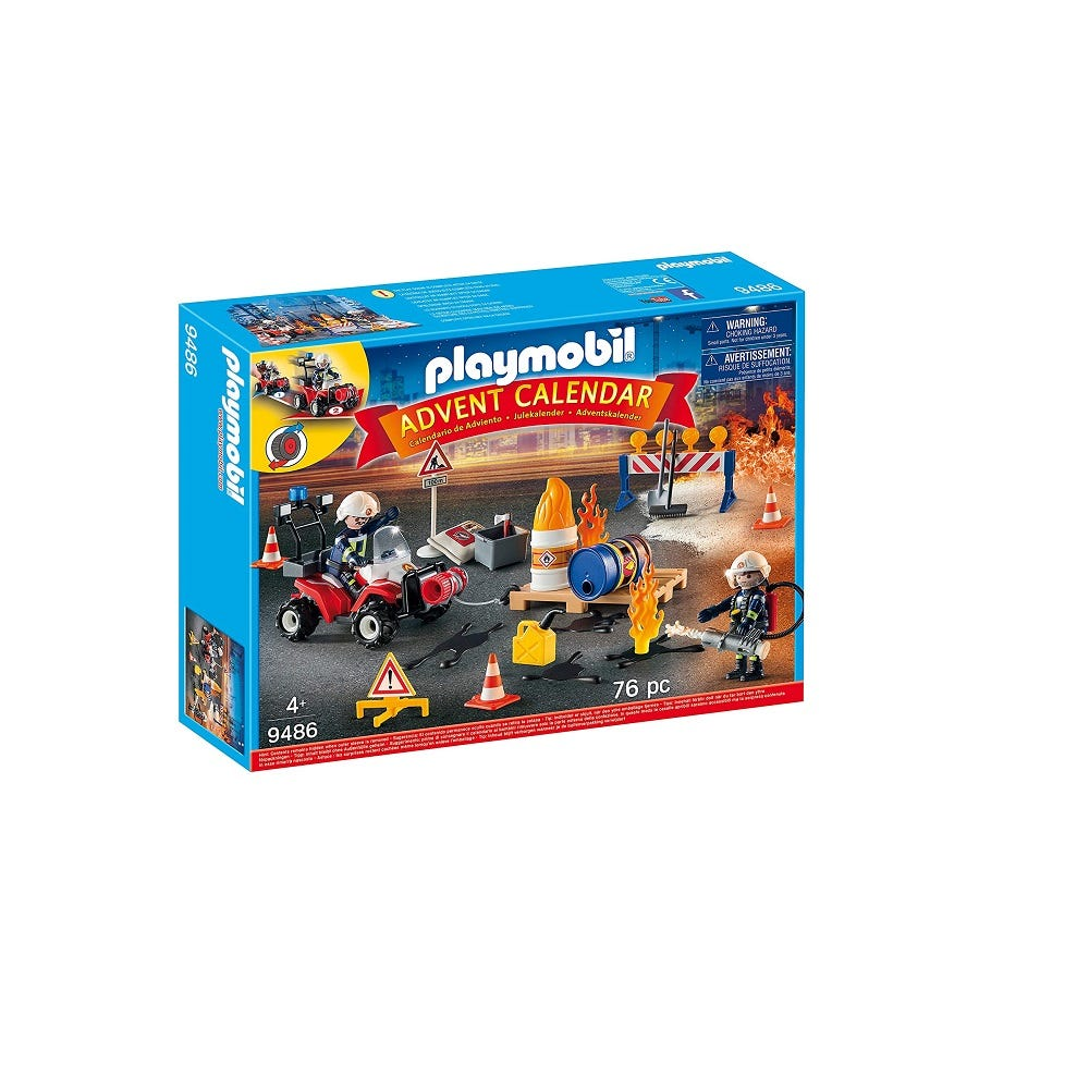 Playmobil 9486 Advent Calendar   Construction Site Fire Rescue With Pullback Motor