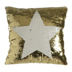 Festive White and Gold Sequin Star Cushion (38 x 38cm)