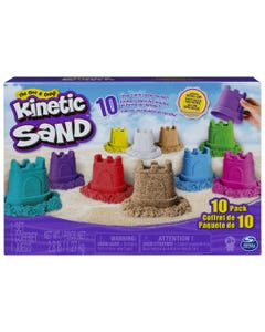 Kinetic Sand, Castle Containers 10-Colour Pack for Kids Aged