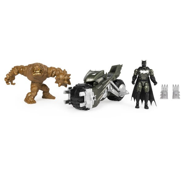 Batcycle Vehicle With Exclusive BATMAN And CLAYFACE 4 Inch Action Figures