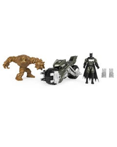 Batcycle Vehicle with Exclusive BATMAN and CLAYFACE 4-Inch Action Figures