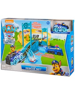 PAW Patrol True Metal Chase Rescue Track Set with Exclusive Chase Die-Cast Vehicle, 1:55 Scale
