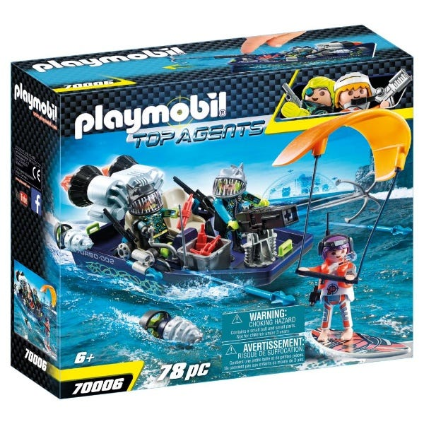 Playmobil 70006 Top Agents Team S.H.A.R.K Harpoon Boat With Kite Surfer