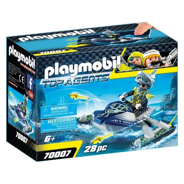 Playmobil 70007 Top Agents Team S.H.A.R.K Floating Jetski With Missiles