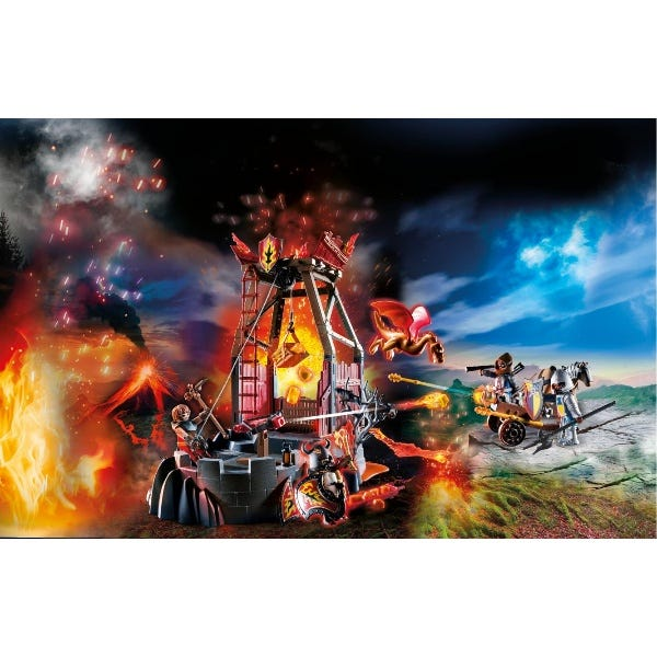 Playmobil 70390 Novelmore Knights Burnham Raiders Lava Mine With Fire Launchers