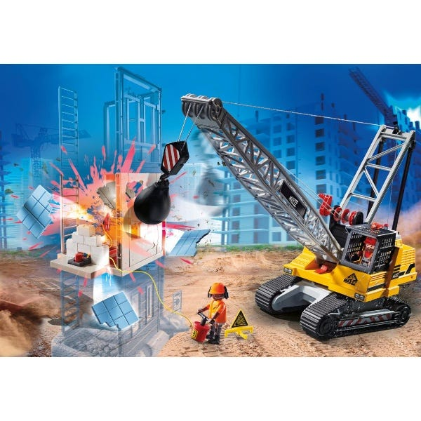 Playmobil 70442 City Action Construction Demolition Crane With Working Winch