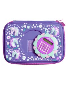 Smiggle Purple Unicorn Hardtop Calculator Pencil Case