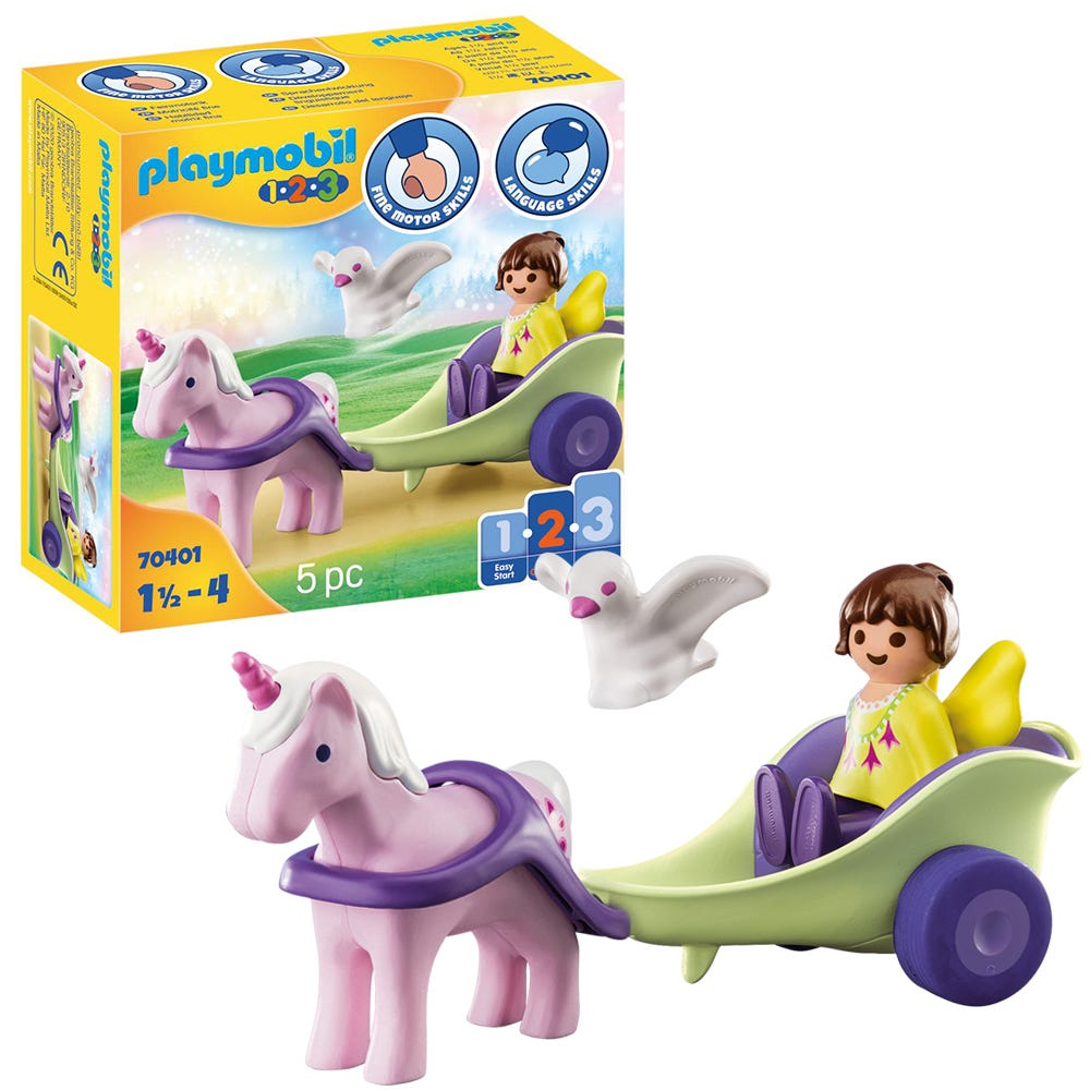 Playmobil 1.2.3 70401 Unicorn Carriage With Fairy For 18+ Months