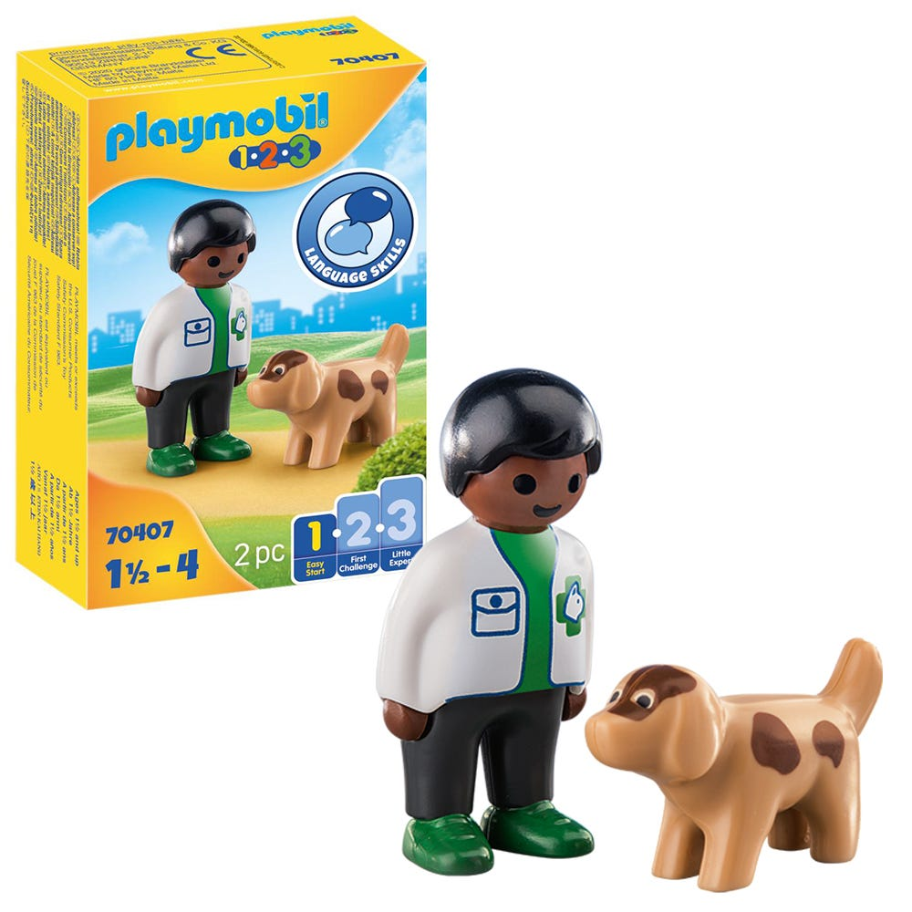 Playmobil 1.2.3 70407 Vet With Dog For 18+ Months