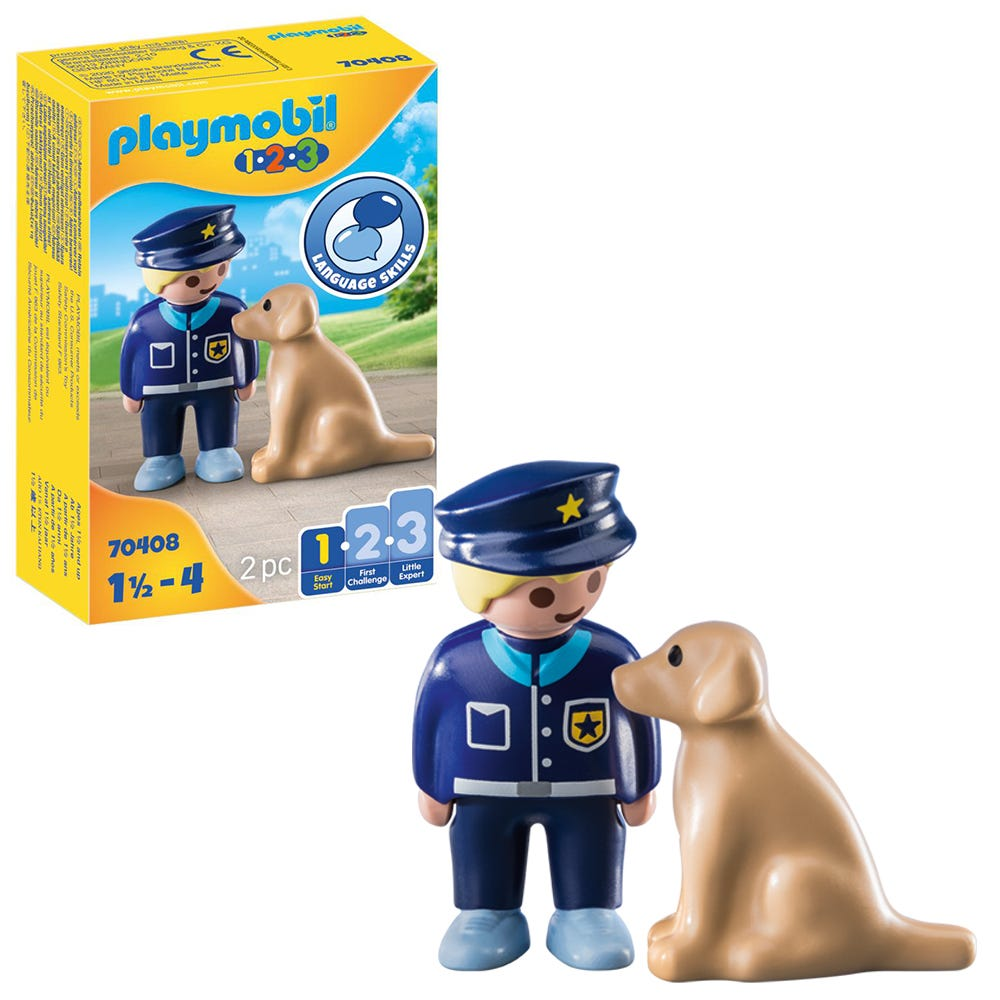 Playmobil 1.2.3 70408 Police Officer With Dog For 18+ Months
