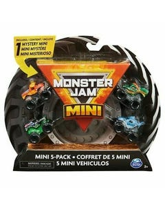 Monster Jam Official Mini Collectible Monster Trucks 5-Pack with 1 Mystery Truck 1:87 Scale