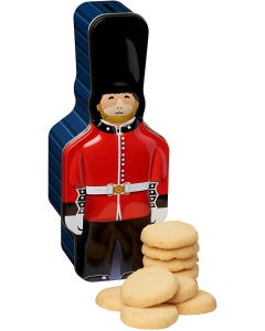 Policeman Money Box Tin Filed With 100G Chocolate Chip Cookies.