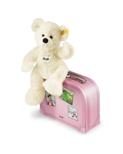 Steiff White Lotte Teddy Bear With Pink Suitcase