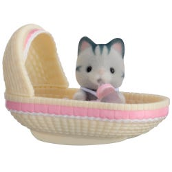 Sylvanian Families Cat Baby In Cradle Carry Case