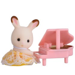 Sylvanian Families Rabbit Baby With Piano Carry Case