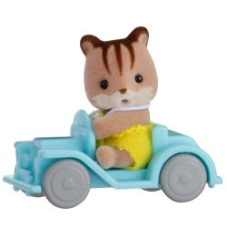Sylvanian Families Squirrel Baby On Car Carry Case