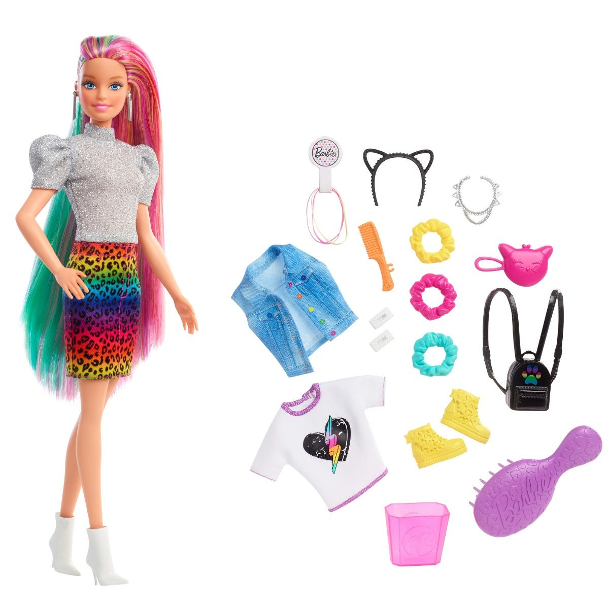 Barbie Leopard Rainbow Hair Doll (Blonde) With Color Change Hair Feature, 16 Accessories, Ages 3 To